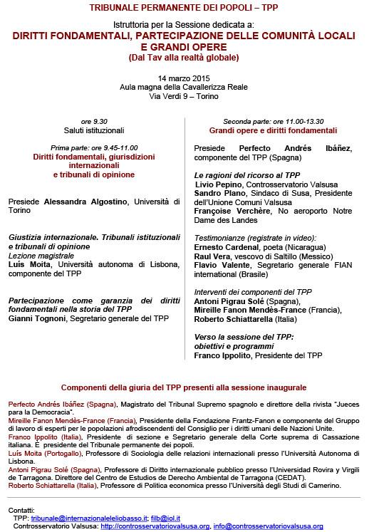 TRIBUNALE PERMANENTE DEI POPOLI – TPP Istruttoria per la Sessione dedicata a: DIRITTI FONDAMENTALI, PARTECIPAZIONE DELLE COMUNITÀ LOCALI E GRANDI OPERE
