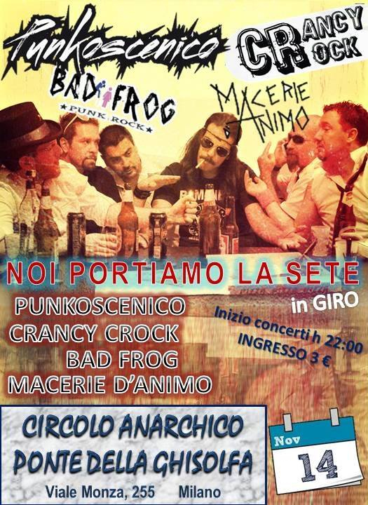 Punkoscenico + Crancy Crock + Bad Frog + Macerie d'Animo @ circolo Anarchico Ponte della Ghisolfa 14-11-2015