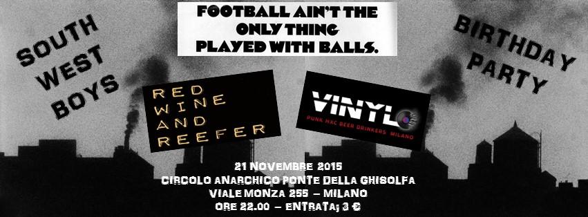 live: Vinyl + Redwine 'N' Reefer @ circolo Anarchico Ponte della Ghisolfa 21-11-2015