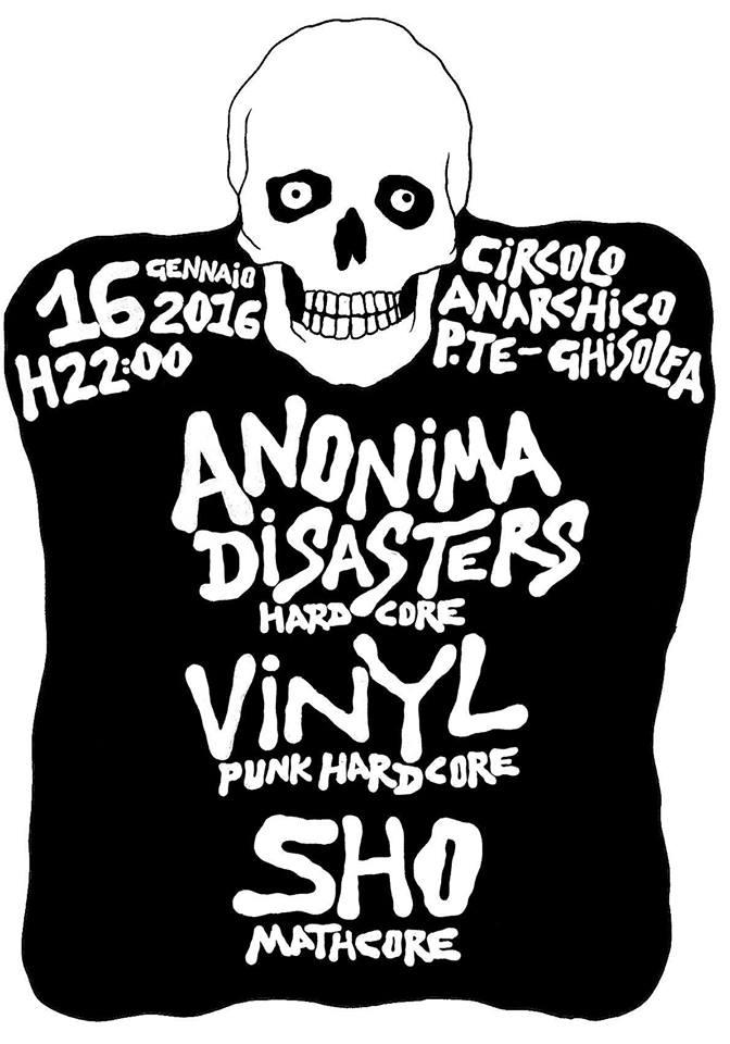 punx live - Milanocore: Anonima Disasters + Vinyl + Sho@ circolo Anarchico Ponte della Ghisolfa 16-01-2016