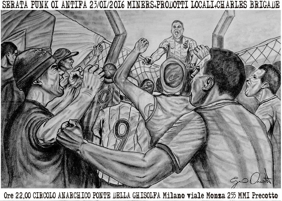 live punx OI Antifa - Miners + Prodotti Locali + Charles Brigade @ circolo Anarchico Ponte della Ghisolfa 23-01-2016