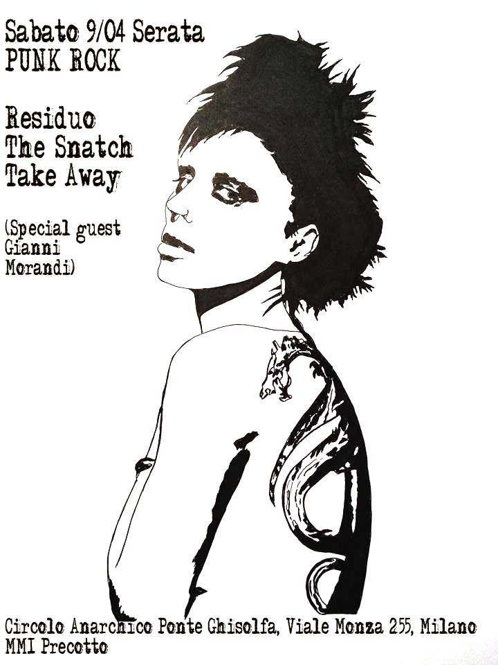 punx live: Take Away + Residuo + The Snatch @ circolo Anarchico Ponte della Ghisolfa 09-04-2016