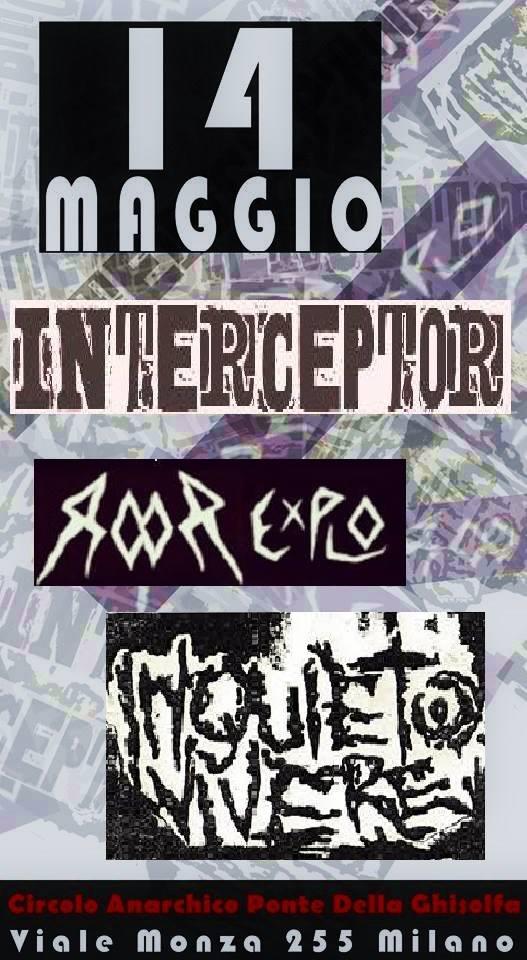 punx live: Inquieto vivere + Interceptor + RooR Explo @ circolo Anarchico Ponte della Ghisolfa 14-05-2016