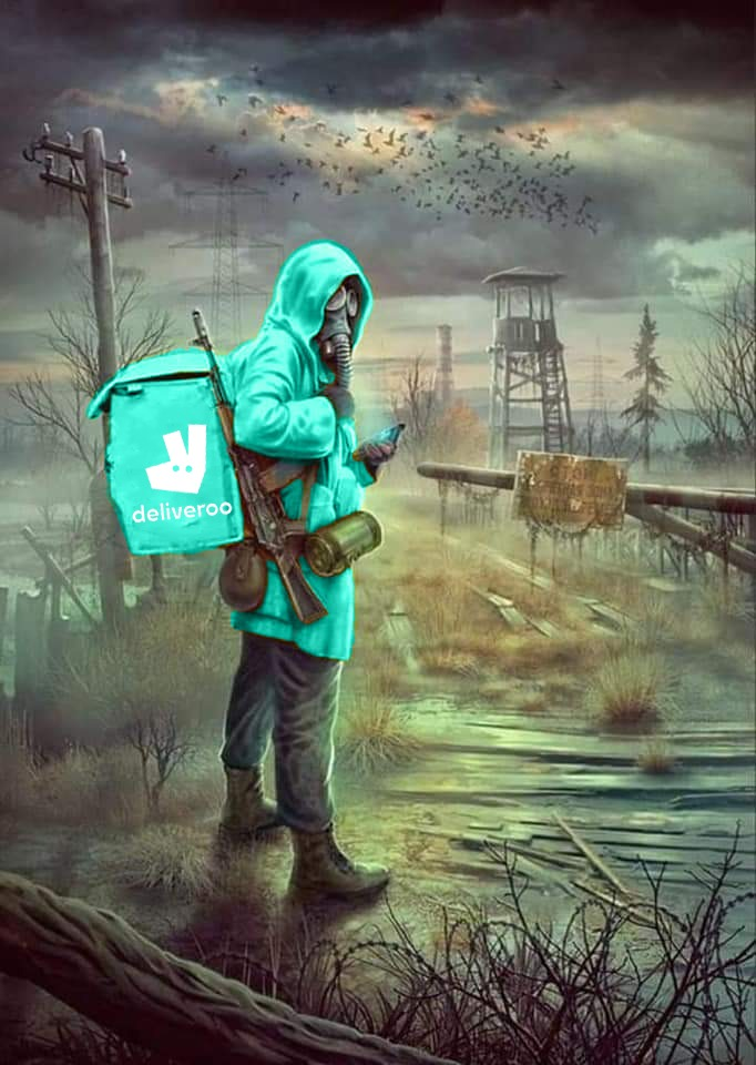 deliveroo rider with gun in a post apocalyptic environment